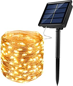 JosMega Solar Fairy String Lights 1 Pack 72 ft 200 LED Outdoor Waterproof 8 Modes Twinkle Upgraded Larger Solar Powered Panels Lights Silver Wire Solar Fairy String Lights Decoration