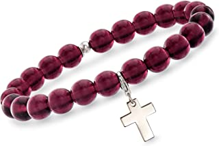 Italian Murano Glass Bead Stretch Bracelet with Sterling Silver Charm