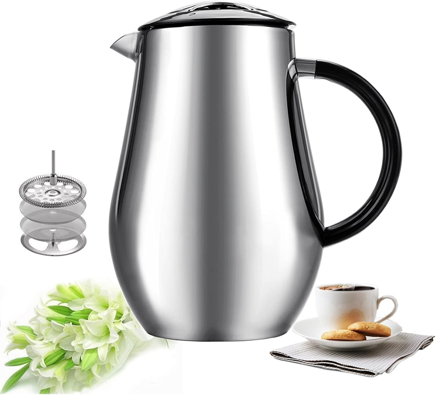Sailnovo Coffee French Presses 1L 34oz Coffee Press Cafetiere Stainless Steel Double-Wall Vacuum Insulated Coffee Tea Maker Press Pot Plunger With ABS Handle