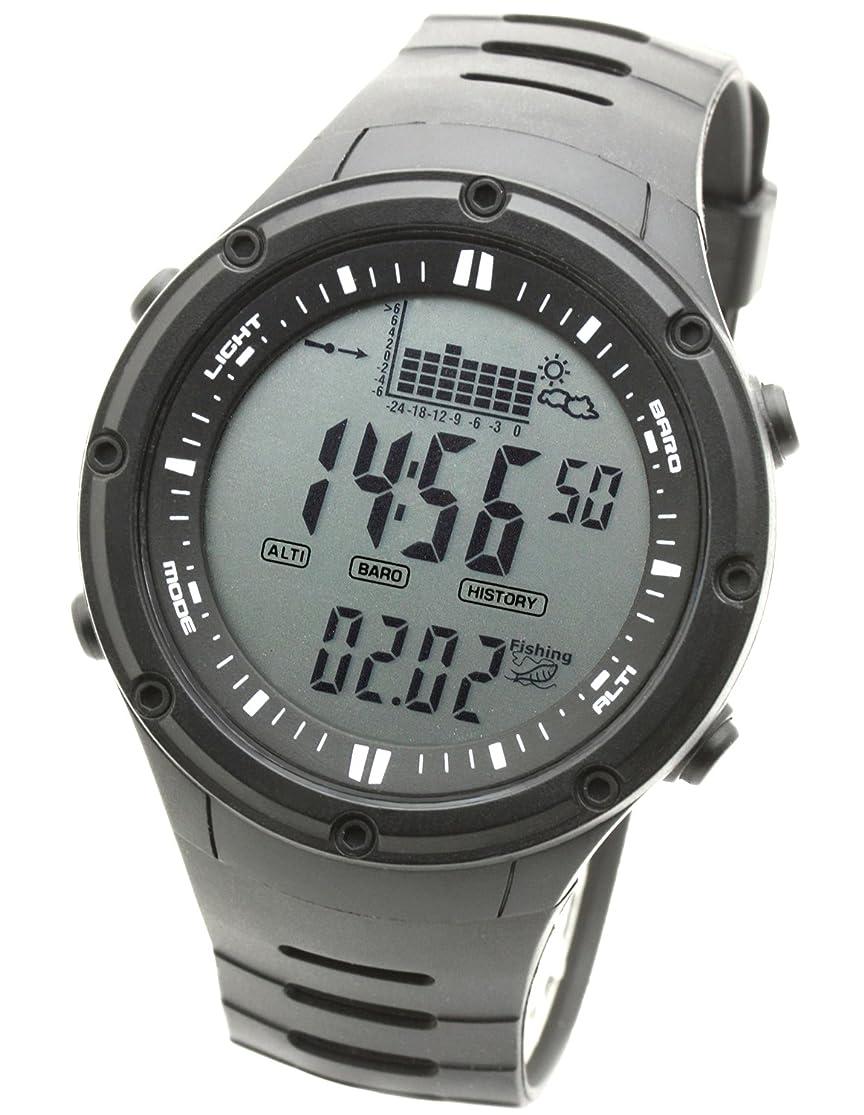 単位草地理[ラドウェザー]フィッシングウォッチ 釣り 気圧計 天気予測 温度計 キャンプ アウトドア時計 デジタル腕時計 (ブラック(通常液晶))