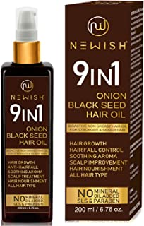 Newish® Onion Black Seed Hair Oil for Hair Growth for Women & Men Dandruff & Hair fall Control 200 ml