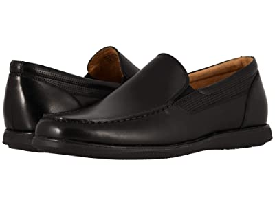 Florsheim Atlantic Moc Toe Venetian Slip-On (Black Smooth/Black Sole) Men