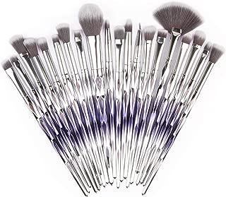 Makeup Eye Brush Set, Adpartner 20pcs Eyeshadow Eyeliner Blending Crease Kit, Fashion Gradient Color Eye Makeup Brushes for Eye Shadow, Eyebrow, Foundation, Concealer (Purple-Silver)