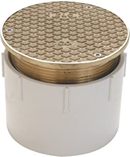 "Zurn CO2450-PV3, Adjustable Floor Cleanout, 3 Inch PVC Hub Connection , Brass , 3"" Pipe"