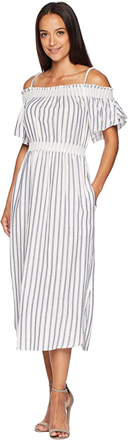 Paisley Off the Shoulder Striped Dress