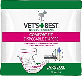 Vet's Best Comfort Fit Dog Diapers | Disposable Female Dog Diapers |, Large/X-Large, 30ct
