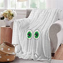 Luoiaax Trippy Commercial Grade Printed Blanket High-Tech Hardware Circuit Board Backdrop with Eye Forms Digital Picture Queen King W54 x L72 Inch Pearl Black Jade Green