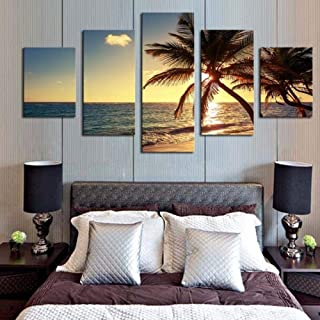 TYUIOP Canvas Painting 5 Pieces Canvas Home Decor Poster Printing Modern 5 Pieces HD Printing Painting Sunset Beach Coconu...