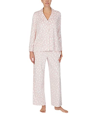 Donna Karan Stretch Velour Sleepwear Pajama Set (Light Shell Dot) Women