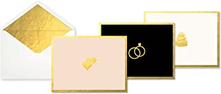 C.R. Gibson Gold  Heart, Ring and Cake Greeting Cards for Weddings, 12 pc, 5'' W x 3.75'' H
