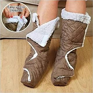 Jobar Warm Slippers, Brown and White 2 Count