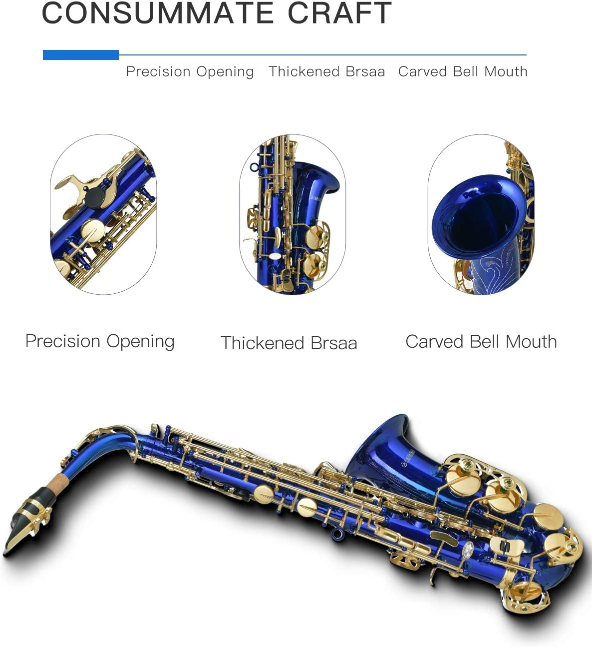 Reed LAGRIMA Bb Alto Saxophone Black Throat Pad Carrying Case ...