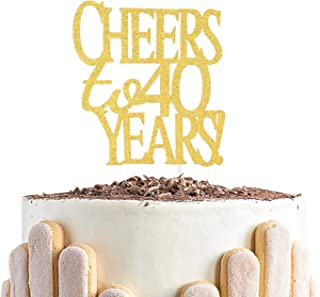 Cheers to 40 Years Cake Topper -Gold Glitter Hello 40 - Happy 40 Birthday Cake Topper 40th Birthday/Wedding Anniversary Pa...