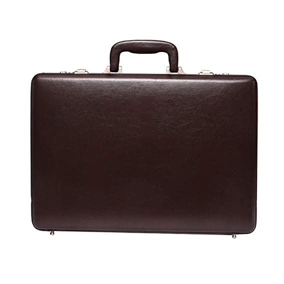 Leather Villa Men's PU Leather 22 L 15.6 Inch Laptop Compartment Expandable Features High Security Combo Number Lock Briefcase Bag (Brown)