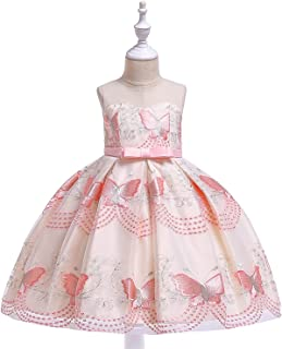 Balalei Girls Wedding Party Dresses for Teen Baby Girl Butterfly Princess Dress Children's Birthday Ball Gown Kids,Pink,7