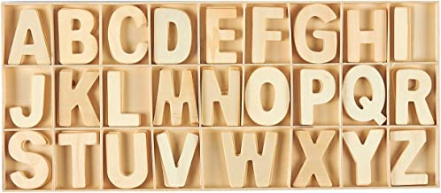 Wooden Letters - 104-Piece Wooden Craft Letters with Storage Tray Set - Wooden Alphabet Letters for Home Decor, Kids Learn...