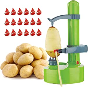 Automatic Peeler for Potatoes or Apples, Electric Potato Rotating Peeler Machine with 18 Replacement Blades, Peeling Tool Cutter for Kitchen Fruits & Vegetables