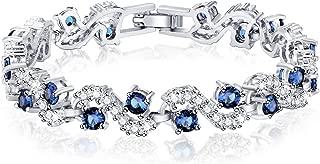 Blue Tennis Bracelet Women Cubic Zirconia Sapphire Jewelry Wedding Bridal Crystal Bangle Gift for Christmas,6.69-7.48 inch