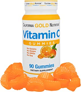 California Gold Nutrition Vitamin C Gummies Gluten-Free Non GMO No Gelatin Natural Orange Flavor 90 Gummies, Milk-Free, Eg...