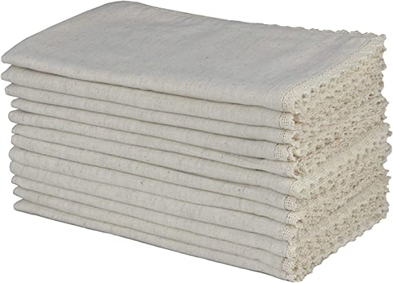 COTTON CRAFT - 12 Pack Oversized Flax with Lace Dinner Napkins - 20x20 Natural