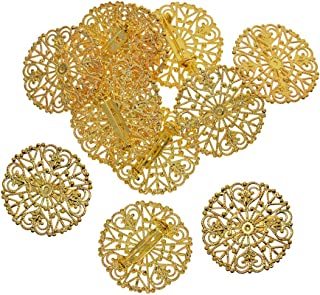 Prettyia 12 Sets Metal Round Flower Brooch Base Cabochon Blanks Trays with Brooch Pins Cameo Cabochon Base Setting