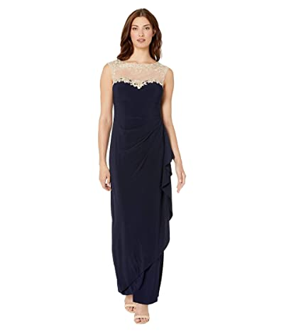Alex Evenings Long Sleeveless Side Ruched Dress with Embroidered Sweetheart Illusion Neckline (Navy/Nude) Women