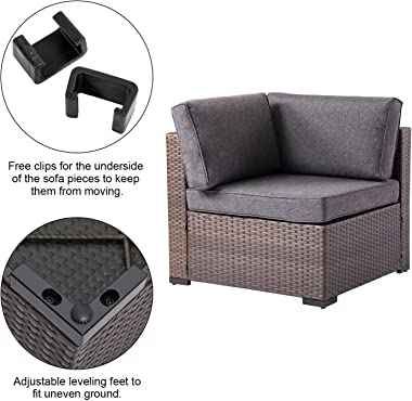 Kinbor 2 Piece Wicker Corner Sofa Set Patio Loveseat Furniture Outdoor Sitting Chairs with Washable Cushions