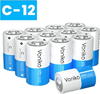 VONIKO Ultra Alkaline 12 C Batteries 12 Pack – Size C Batteries Pack – 10 Year Shelf Life & 6-9 Times The Power As Carbon Batteries | 12 Pack C Batteries 1.5 Volt – C Batteries