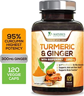 Turmeric Curcumin 95% Curcuminoids with BioPerine and Ginger 1950mg - Black Pepper for Best Absorption, Made in USA, Best Vegan Joint Support, Turmeric Ginger Supplement Pills - 120 Capsules