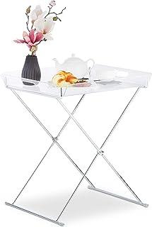 Relaxdays Table d'appoint Pliante, Plateau Acrylique Amovible, Tablette Basse Structure métallique, HlP 57x52x47,5cm, 1 él...