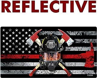 AZ House of Graphics REFLECTIVE Thin RED LINE MASK Flag Sticker - #FS2033-REF-1pk
