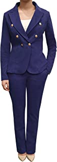Double Breasted Casual Work Office Blazers for Women Jacket- with Gold Button on The Sleeves Made in USA