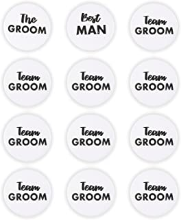 Bachelor Party Pins - 12-Pack Team Groom Bachelor Buttons, Bachelor Party Favors, Engagement Party Supplies, Black Font on White