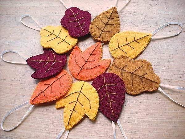 Set Of 10 Felt Autumn Leaf Ornaments Fall Decorations Oak Maple And Aspen Leaves