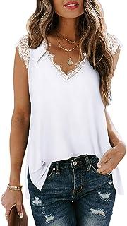 White Tank Tops for Women Basic V Neck T Shirts...