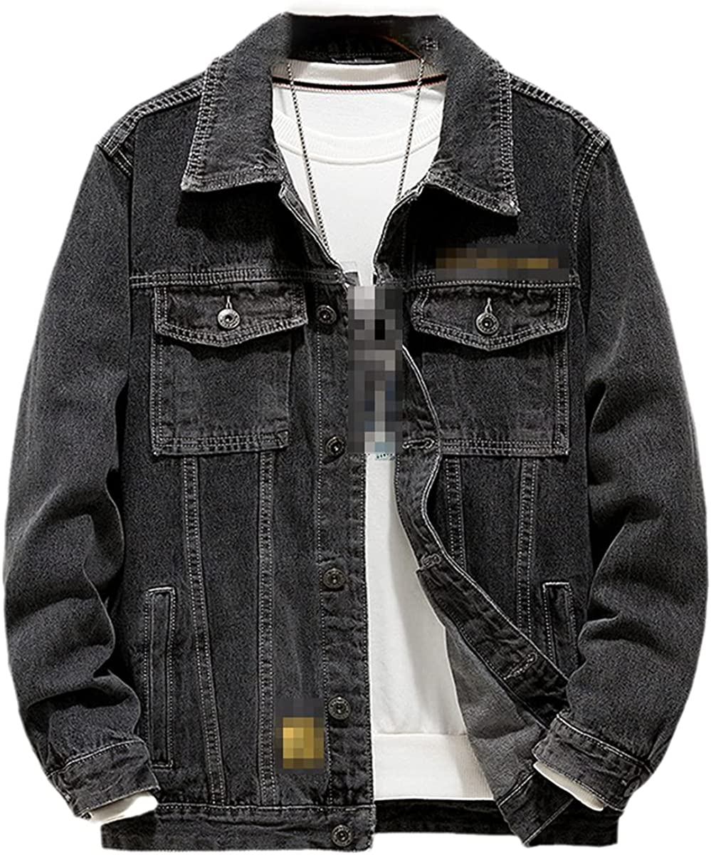 Men's Denim Jacket Autumn Fashion Lapel Single-Breasted Youth Casual Letter Embroidered Denim Jacket
