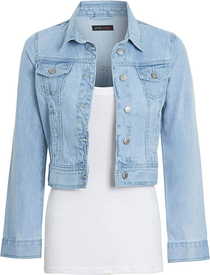 Womens Denim Jacket Crop Style Long Sleeve Button Up Slim Fit Vintage Jean Jacket For Ladies Gilrs
