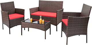 Homall 4 Pieces Outdoor Patio Furniture Sets Rattan Chair...