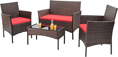 Amazon.com : Cartagena 4-Piece Resin Wicker Outdoor ...