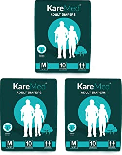 "Kare Med Adult Diapers - Medium 10 Count (76cm - 114cm) (30""- 45"") (Pack of 3)"