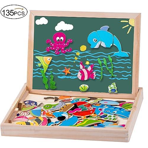 MOVEONSTEP Puzzles magnétiques avec des nombres magnétiques et Jeu de l'alphabet Total 135 Pièces magnétiques Double Face Planche à Dessin Thème de l'océan pour Les Enfants DE 3 Ans et Plus