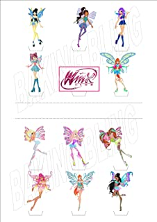 12 x Winx Club Party Pack 12 - Fun Novelty Birthday PREMIUM STAND UP Edible Wafer Card Cake Toppers Decorations