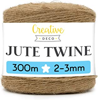 Creative Deco 985 Pieds | 300 m Ficelle Corde Jute | 2-3 mm d'épaisseur | Chanvre Bobine Decorative Forte Épaisse Brune Na...