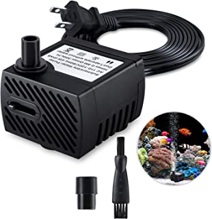 Fountain Pump, 80GPH Submersible Water Pump, Durable 4W Outdoor Fountain Water Pump with 7.2ft(2.2m) Power Cord, 2 Nozzles for Aquarium, Pond, Fish Tank, Water Pump Hydroponics, Backyard Fountain