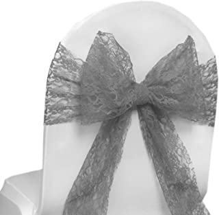 VDS - 75 PCS Elegant Lace Wedding Chair Sashes/Bows for Wedding Party Banquet Decor - Ribbon Tie Back lace Sash Bow - Silver Gray
