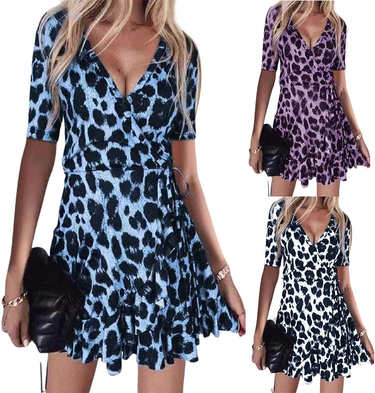 Summer Dresses for Women Trendy Leopard Graphic Print Beach Sundress Wrap V Neck Midi Skirt Short Sleeve Prom Dress