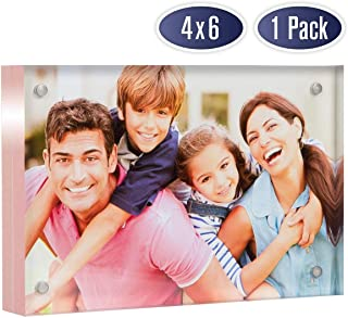 Acrylic Picture Frame 4x6 with Rose Gold Edges - Double Sided Magnetic Photo Frame, 24 mm Thick Clear Picture Frame, 4 x 6 Inches Acrylic Frame, Modern and Self Standing for Desktop Display (1 Pack)