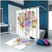 AMDXD Bathroom Set Curtain Mats Accessories Bouquet White 3D Beach Shower Curtain Bath Mats Non Slip 150x200CM