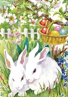 Morigins - Easter Garden Bunny Eggs Decorative Double-Sided Spring Flag 12.5