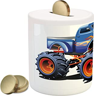 Lunarable Man Cave Piggy Bank, Cartoon Monster Truck with Huge Tyres Off-Road Heavy Large Tractor Wheels Turbo, Ceramic Coin Bank Money Box for Cash Saving, 3.6